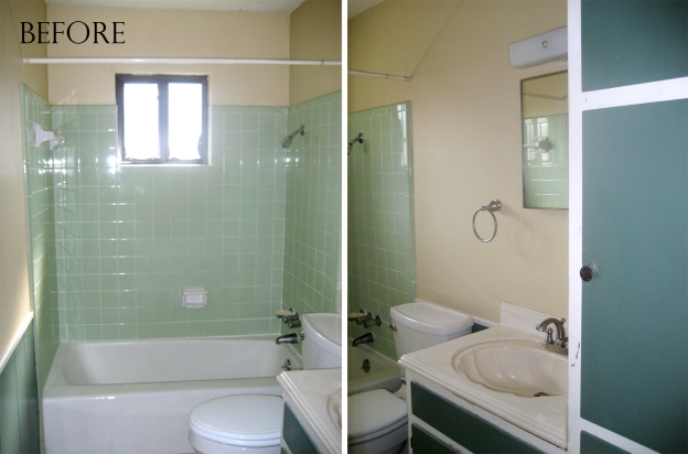 Before picture - our mid-century, 1969 bathroom with green tiles.