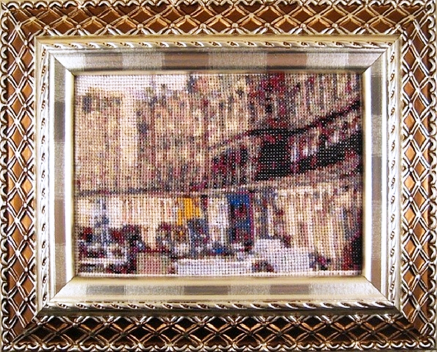Edinburgh cross stitch pattern, of Victoria Street. Available at shopashtreegrove.etsy.com