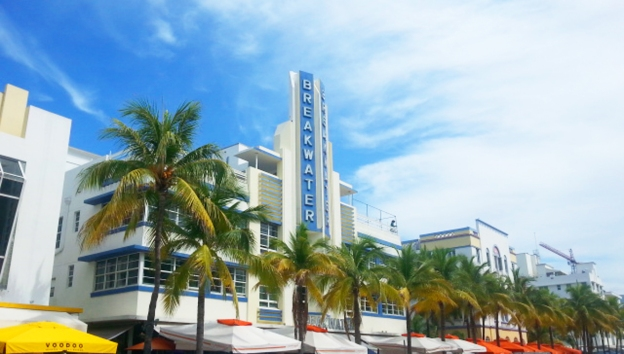 Ocean Drive's art deco architecture, from our trip to Miami.