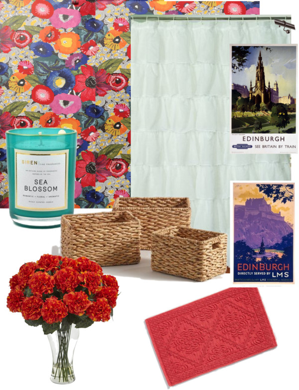 Polyvore collage of colorful floral wallpaper and british touches to make a vintage bathroom fun.