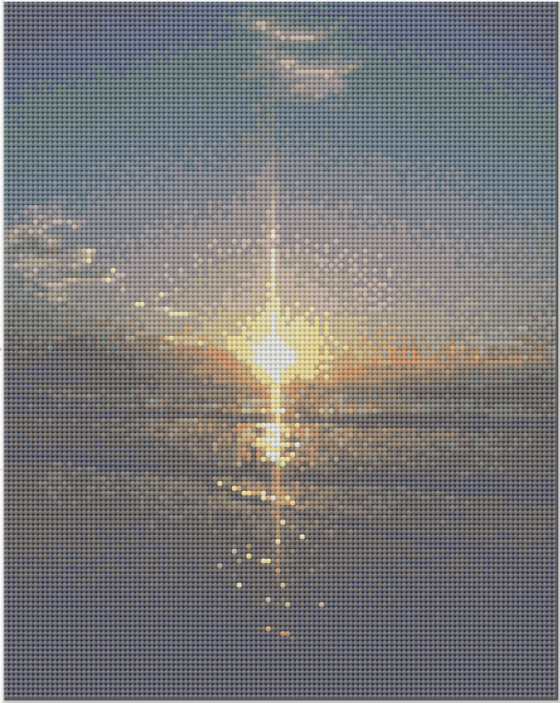 Cross stitch pattern of a sunrise in Cocoa Beach Florida, made by Ashley McNeill.
