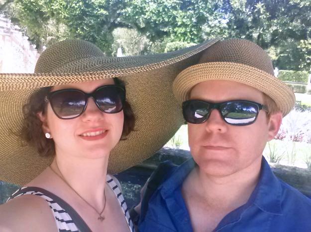 Us in Miami, in the Vizcaya gardens.