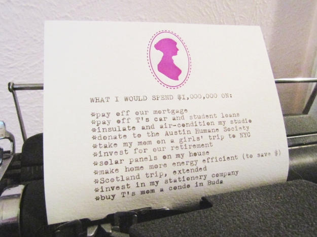Typed list on a vintage royal typewriter by Ash Tree Grove with Jane Austen silhouette stationery..